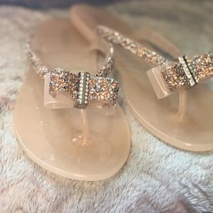ALDO Jelly Flip-flops w/ Crystal Bow